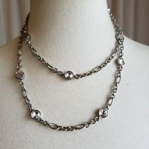 Chico's Silver Toned and Clear Gem Necklace